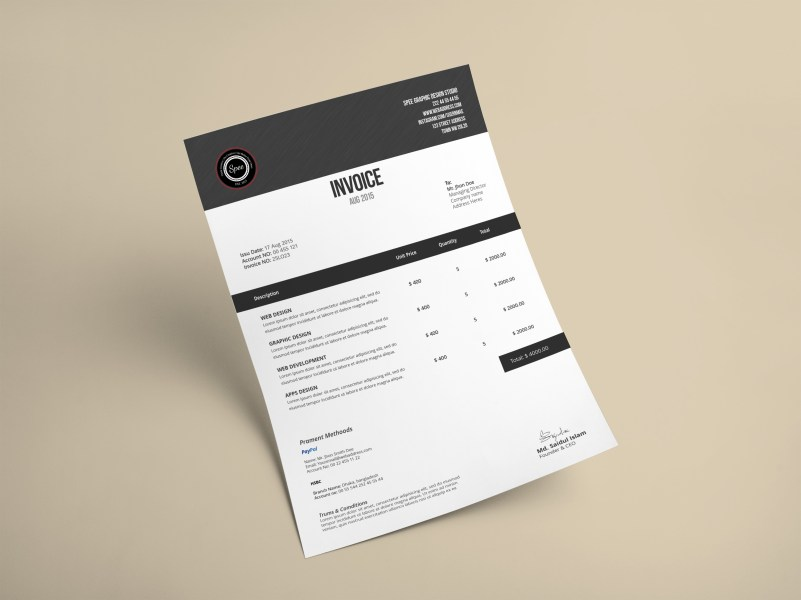Minimalist Invoice Template Design on Behance