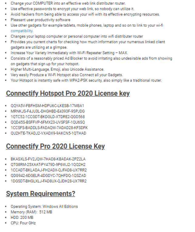 Connectify Hotspot System Requirements