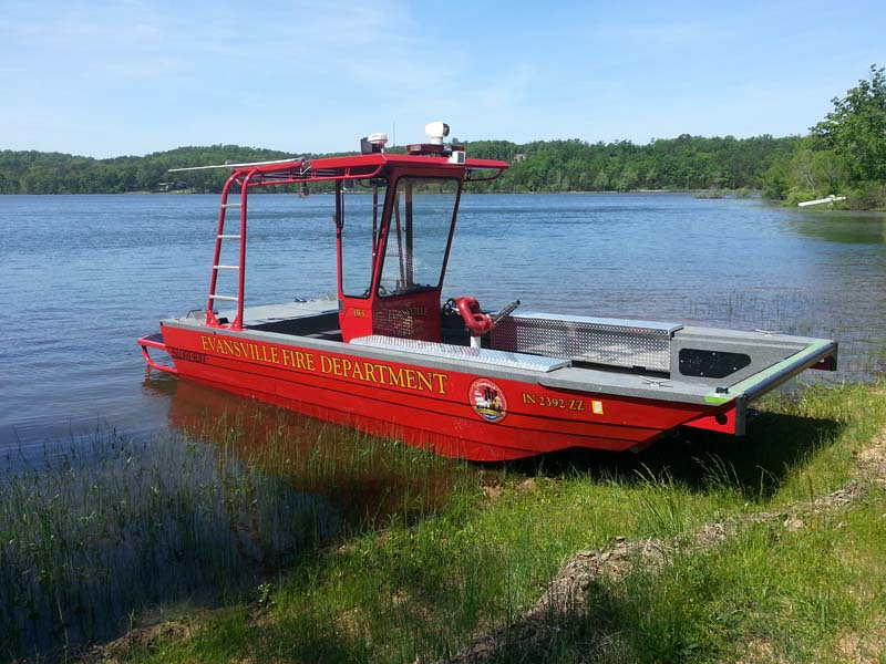evansville fire department boat in shallows