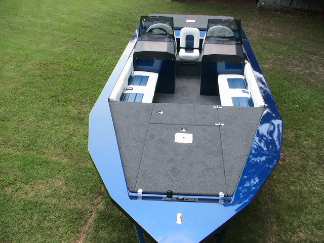 blue boat overhead view