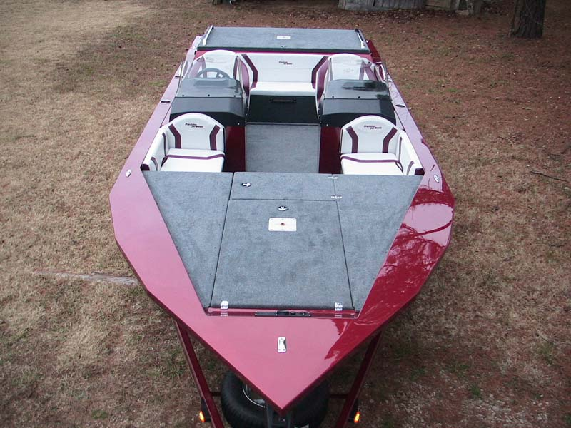 red boat overhead view