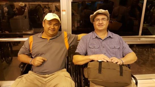 Saying good bye at the airport in El Salvador