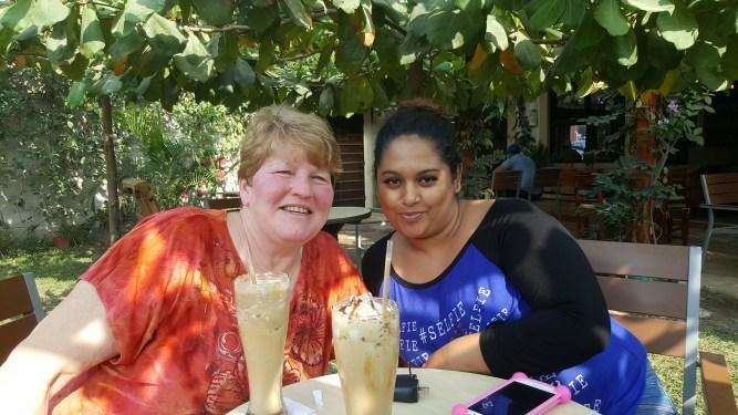 Sheryl and Alejandra ejoying a cold treat