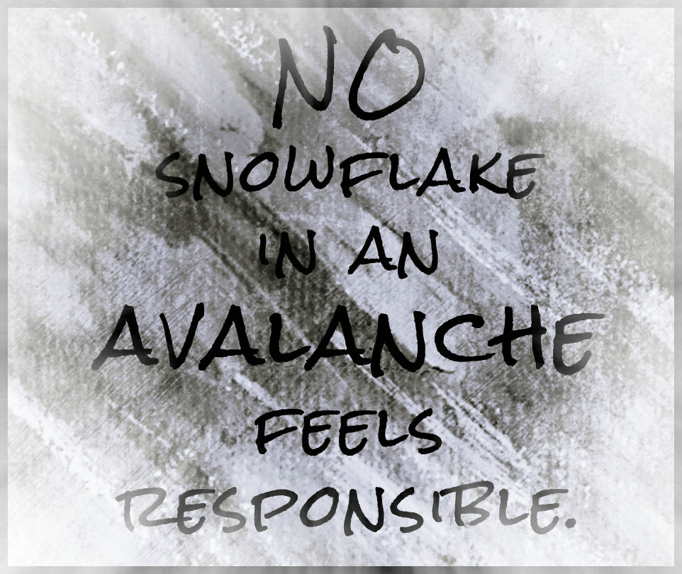 No Snowflake in an Avalanche Feels Responsible …