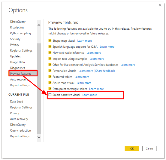 microsoft power bi data science options and setting preview features