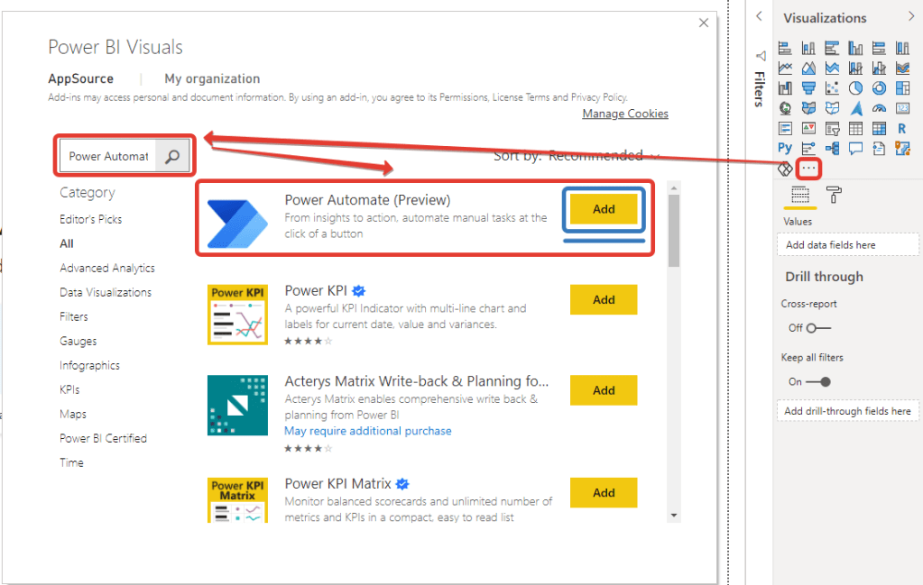 microsoft power bi april features power automate visual add store
