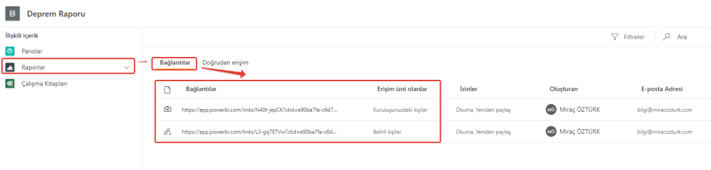 microsoft power bi report link share bi connections is zekasi raporlama rapor link paylasma