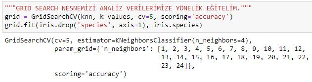 python knn k-nearest neighbours k-en yakin komsu microsoft power bi data science parameter list grid search fit set