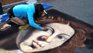 Collaborative Sidewalk Mural, Maynard Art Walk Festival, 2013