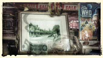 Vintage print of West Byfleet, old banknotes and coinage