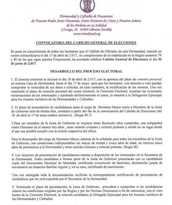 CONVOCATORIA CABILDO GENERAL DE ELECCIONES