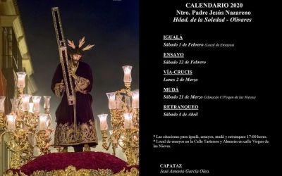CALENDARIO DE ENSAYOS 2020 DE NTRO. PADRE JESÚS NAZARENO DE OLIVARES