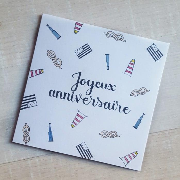Carte calligraphiée pour un anniversaire avec une décoration personnalisée sur le thème de la Bretagne