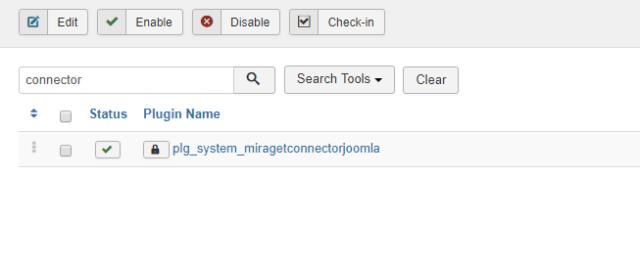 MiragetConnector Joomla plugin