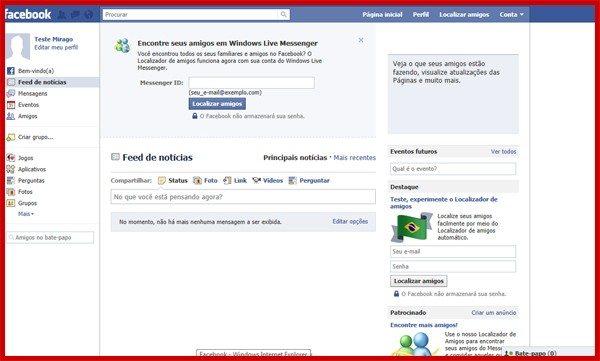 Abra o seu Facebook