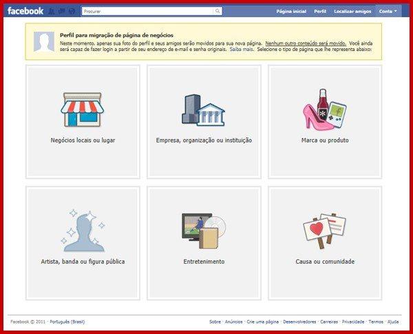 Página para realizar a migração de Perfil para Fan Page