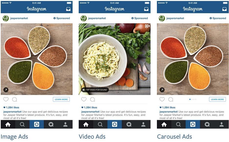 Formatos de anúncio no Instagram