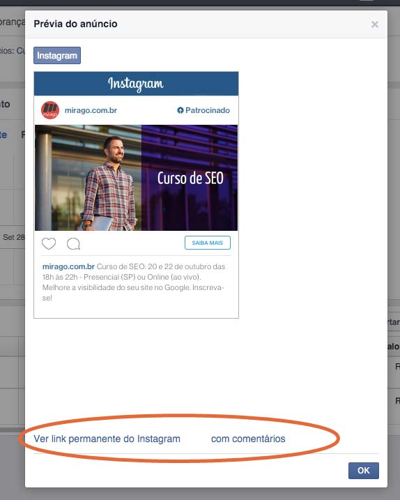 Link da publicação do anúncio Instagram
