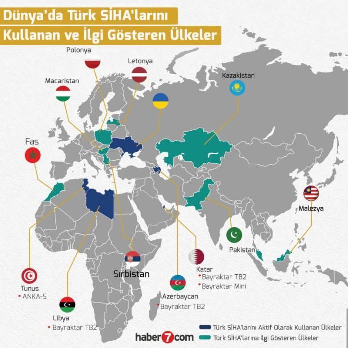 İşte Türk SİHA'larını kullanan ve ilgi gösteren ülkeler