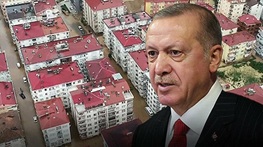 Cumhurbaşkanı Erdoğan sel bölgesinden önemli açıklamalarda bulundu