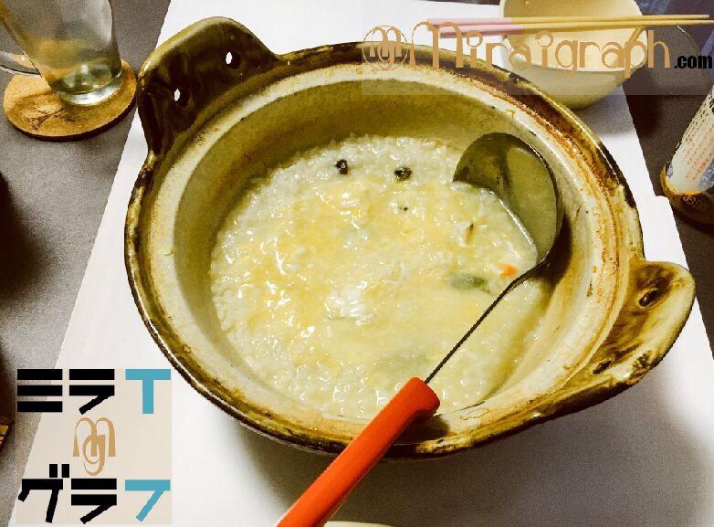 焼あごだし鍋のしめの雑炊