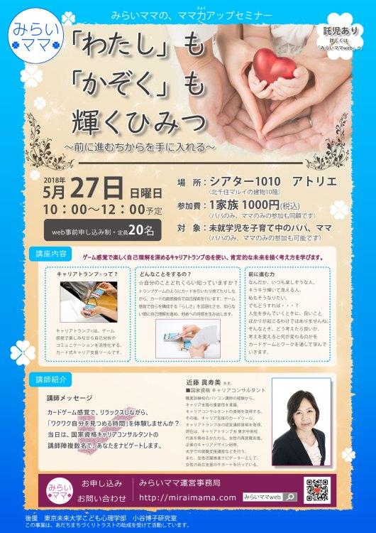 0527 みらいママ講座 キャリアトランプ 自己分析 近藤眞寿美 ママ パパ ママ向け講座