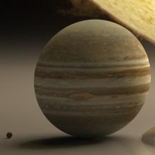 太陽系を机に置くと、地球の小ささ、太陽の大きさがよく分かるという画像