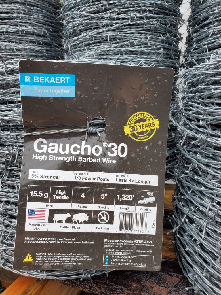 Gaucho 30 Barbed Wire by Bekaert requires fewer posts and has the Zinc Aluminum coating for sale