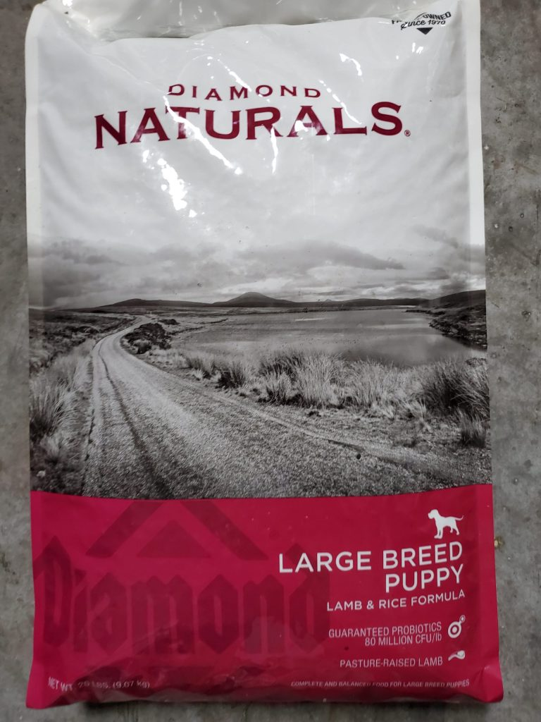 Diamond naturals large breed puppy food with probiotics.