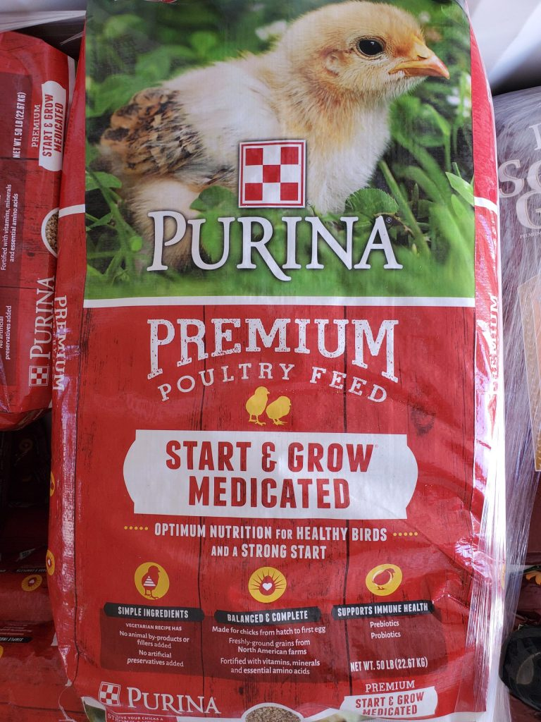 Purina Start and Grow Medicated crumbles fifty pound bag. Great way to start your new chicks and new flock for sale