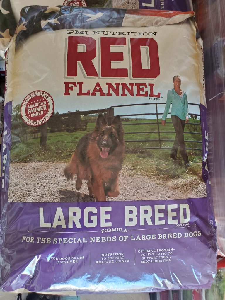 Purina Red Flannel Large Breed Dog Food fifty pound bag for sale