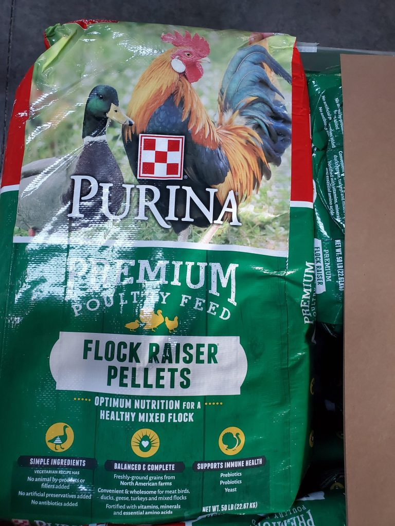 Purina premium Poultry Feed fifty pound bag. Pellet feed for raising your flock after the chicks are off heat.