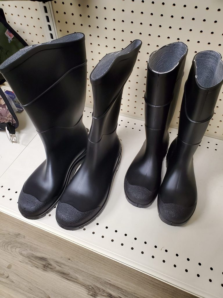 Rain and Mud Boots in stock and available is several sizes for sale