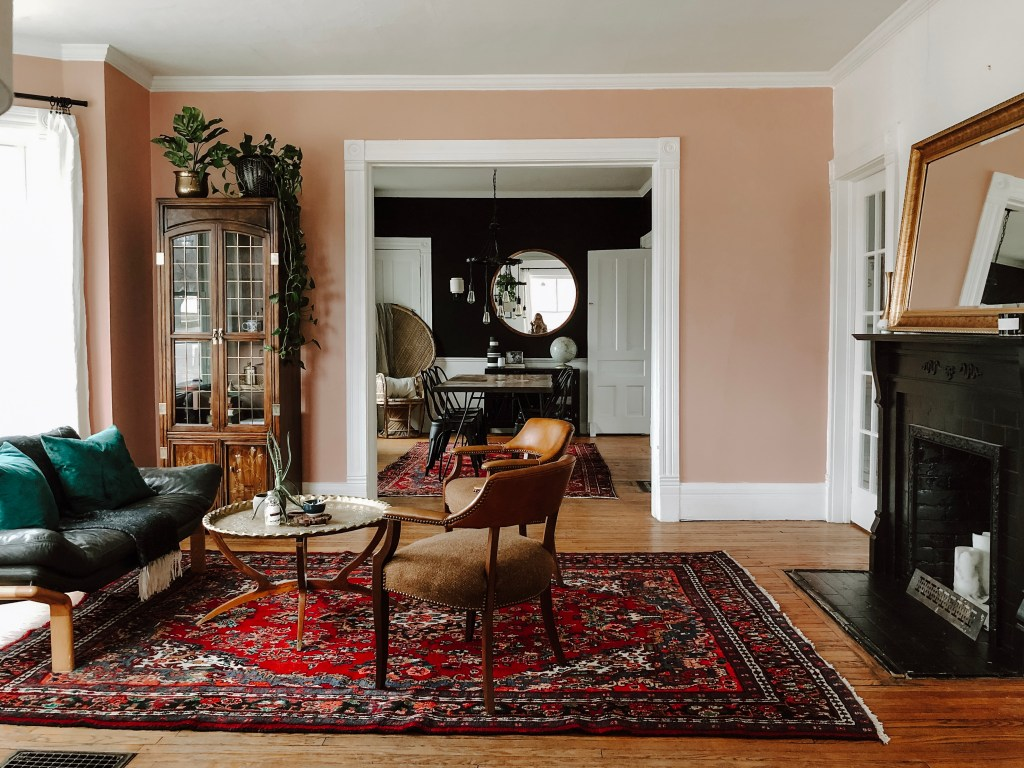 One Room Challenge Parlor Week Three Pink Paint Persian Rugs and A Cute Sofa   Miranda Schroeder Blog