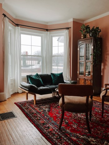 One Room Challenge Parlor Week Three Pink Paint Persian Rugs and A Cute Sofa | Miranda Schroeder Blog