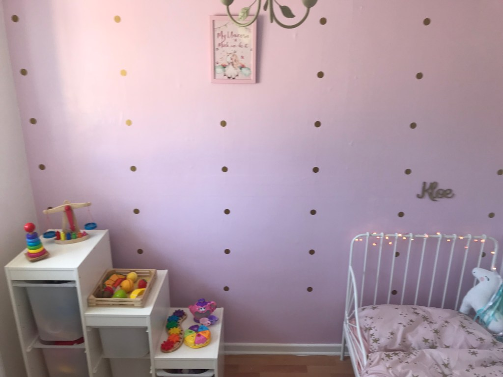 girl's toddler new pink bedroom bed storage unicorn pink wall gold spots wooden colourful toys