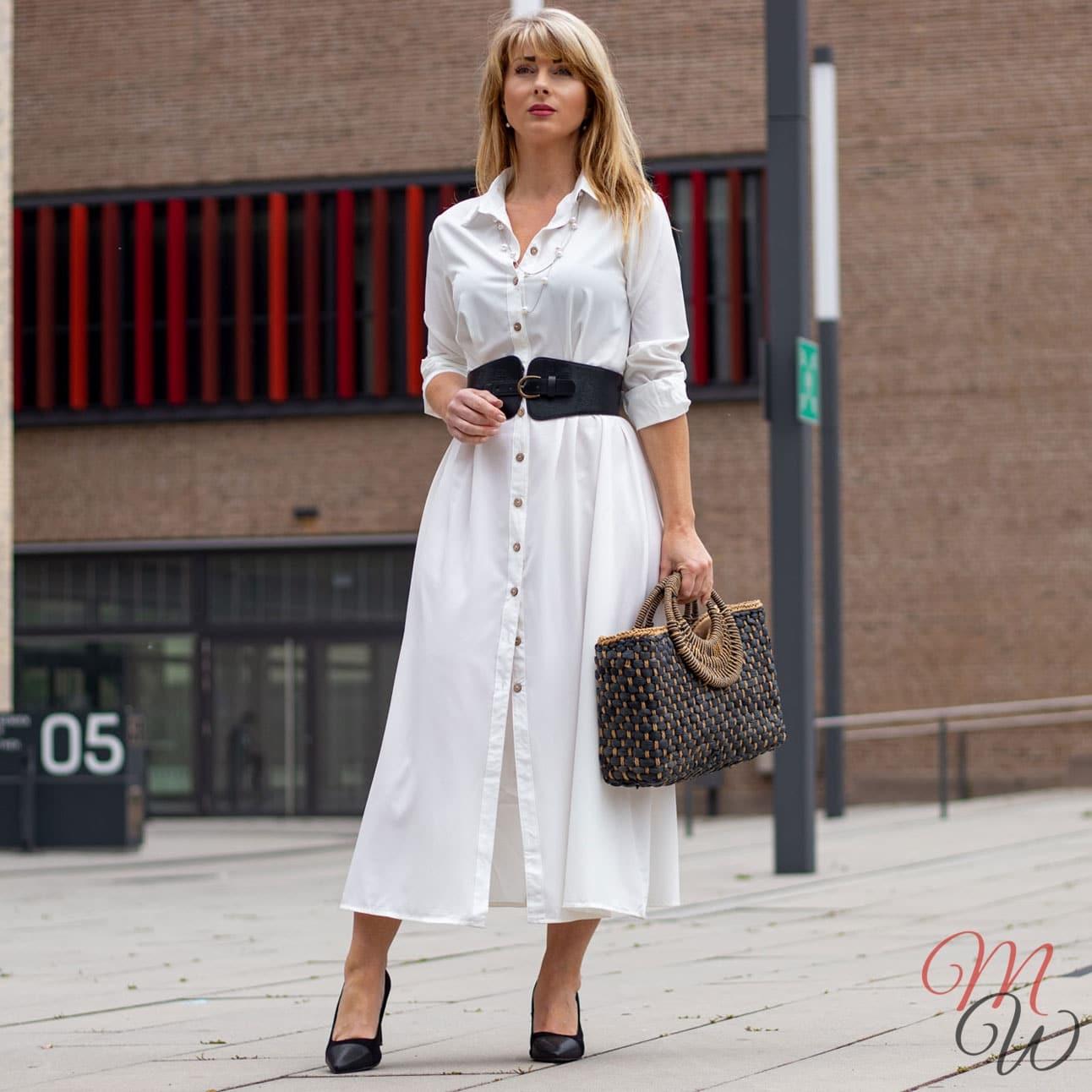 Blusenkleid Weiß mit Knöpfen