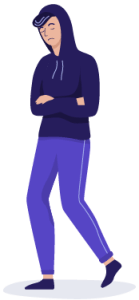A person wearing a purple hoodie with their arms crossed, avoiding trauma reminders