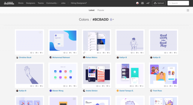 Screen shot of dribbble hex code search for the hex code #bcbadd