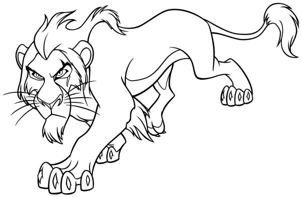 Раскраска - Король Лев - Шрам | MirChild