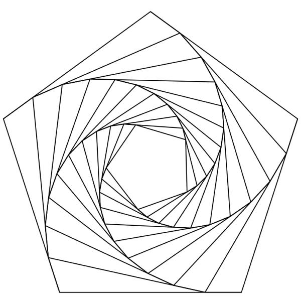 Раскраска - Математические фигуры - Пятиугольная спираль ...