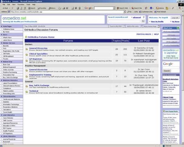 OnMedica - Bespoke forums