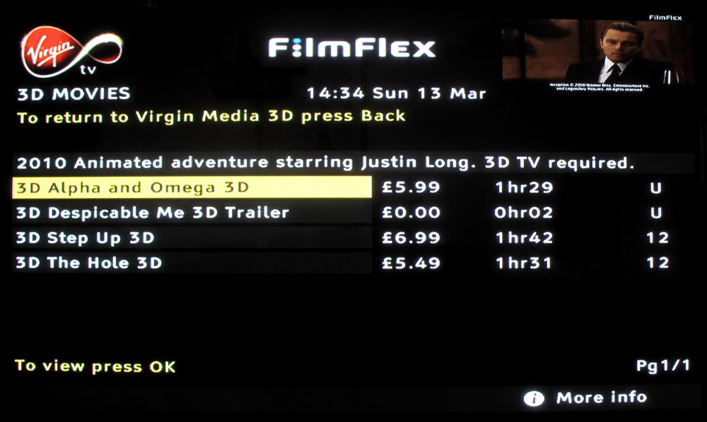 Virgin Movies cable — 3D Movies