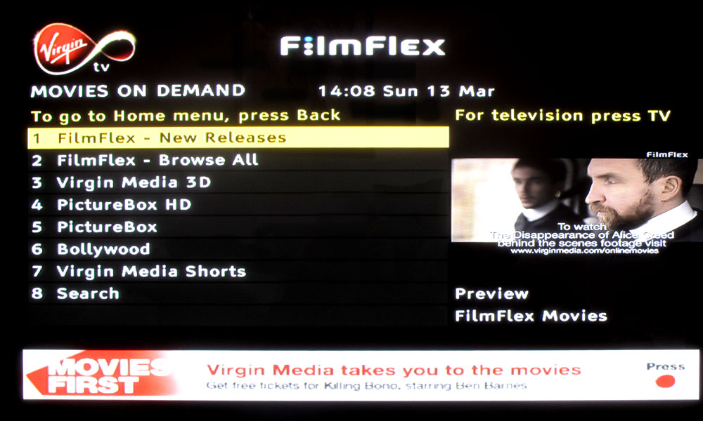 Virgin Movies - Movies on demand home page
