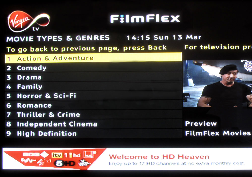 Virgin Movies cable — Movie Types & Genres