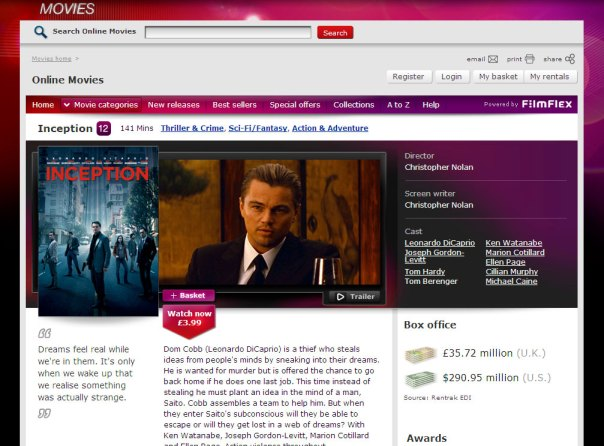 Virgin Media Online Movies - Film page - top