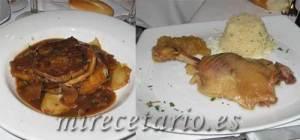 Confit de pato y milhojas de solomillo