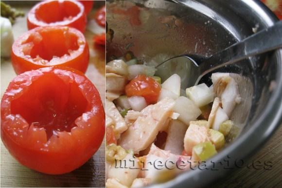 El relleno de los tomates rellenos