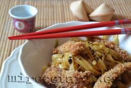Wok coreano y lomo con panko