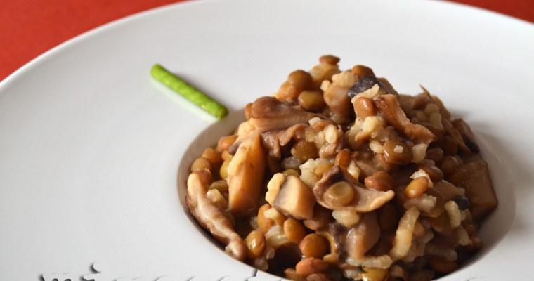 Lentejas con shiitake y champiñones